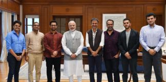Narendra Modi with Bollywood delegates