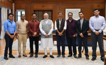 Narendra Modi with Bollywood delegates