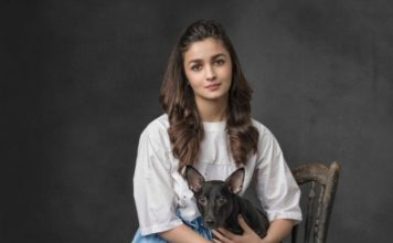 Alia Bhatt with a stray dog