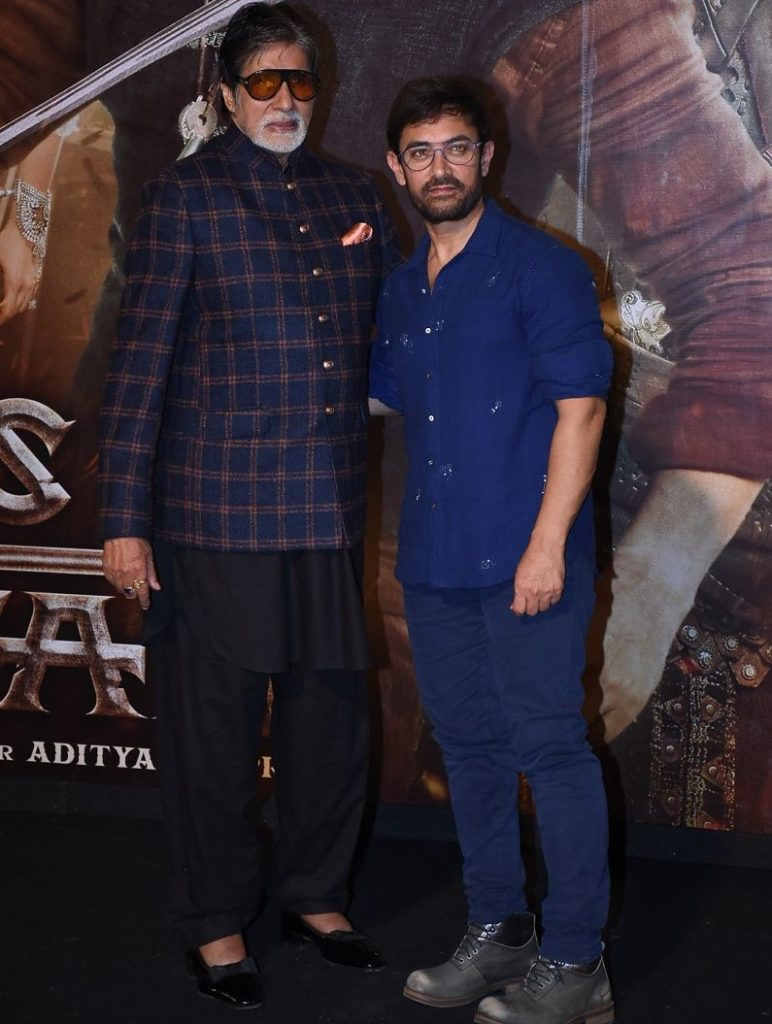 Aamir khan with Amaitabh Bacchan at Trailer launch